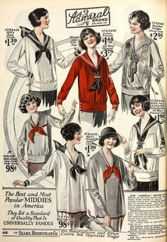 1920s Middy Sailor Tops, vintage nautical clothing