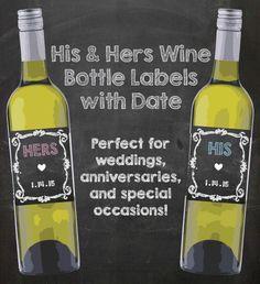 Wine Bottle Labels Wedding Chalk Digital by CuteLittleSigns