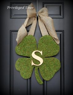 St. Patricks Day Wreath.  St. Patricks Wreath.   Moss Shamrock with Rustic Burlap Bow and Copper Letter.  Old World Chic.