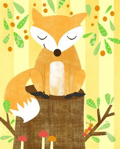 Storybook Woodland Fox Art Print by Elissa Hudson | Society6