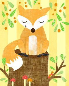 Storybook Woodland Fox Art Print by Elissa Hudson | Society6