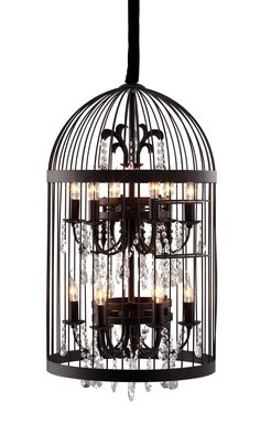 Canary Ceiling Lamp in Rustic Hand Wrought Black Iron & Glass Crystals