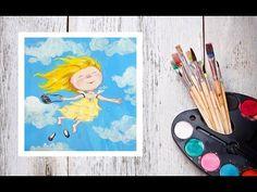 Видео урок Рисуем ангела гуашью По мотивам картин Гапчинской - YouTube