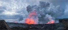 Выход лавы вулкана Килауэа в океан • AirPano.ru • Photo