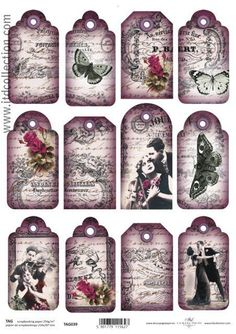 Vintage Style Tags x 12 Scrapbooking Cardmaking Romance Love Script Roses in…