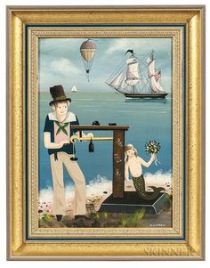 View Weighing In By Ralph Eugene Cahoon Jr. Oil on Masonite; 13 x 9 in; Access more artwork lots and estimated & realized auction prices on MutualArt. Mermaid Art, Mermaid Paintings, Naive Art, 2d Art, Folk Art, Art Decor, Nautical, Auction, Mermaids