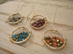 Handmade hoop with beads and wire: Pendant Necklace. #jewelry #Jewellery