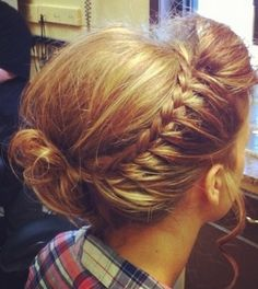 Queens braid - like a French braid but hair is added to only one side
