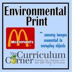 Creating Sensory Images Through Environmental Print - The Curriculum Corner 123 Kindergarten Literacy, Early Literacy, Print Name, Sensory Images, Concepts Of Print, Life Skills Class, Environmental Print, Media Literacy, Classroom Posters