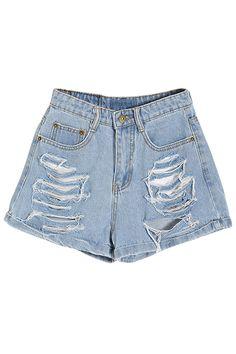 ROMWE | Distressed Rolled-hem Blue Denim Shorts, The Latest Street Fashion