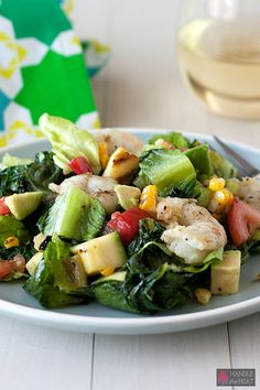 Grilled California Chopped Salad with Shrimp - so fresh and colorful! We love grilled Romaine lettuce!