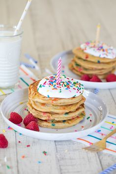 Multigrain Birthday Cake Pancakes have become our birthday morning tradition and the twins love them! Get my easy recipe and try them with your family. Birthday Cake Pancakes, Birthday Breakfast, Birthday Morning, Homemade Pancakes, Pancakes Easy, Toddler Birthday Cakes, 4th Birthday, Birthday Celebration, Toddler Meals