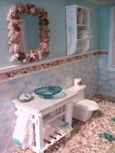 Beautiful Mini Blessings: Mixed Media coastal themed dollhouse bathroom