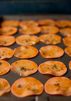 Orange Sweet Potato Baked Chips with Thyme #sides #recipe #fall