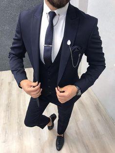 Bernard Navy Shine Slim Suit – brabion