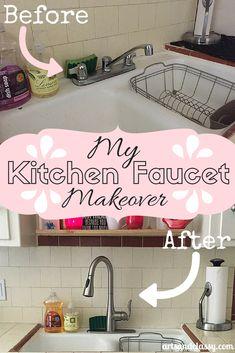 My Kitchen Faucet Ma My Kitchen Faucet Makeover. Even though I am a renter, I was able to talk with my landlord about upgrading my old school kitchen faucet. Check out more at www. Apartment Decorating On A Budget, Decorating Tips, Kitchen Redo, Kitchen Ideas, Kitchen Facelift, Kitchen Stuff, Home Fix, Kitchen Furniture, Diy Furniture