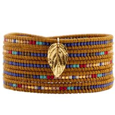 Chan Luu Mix Seed Bead Bracelet on Henna Leather with Gold Leaf ($205) ❤ liked on Polyvore featuring jewelry, bracelets, accessories, pulseras, pulseiras, chan luu, gold bangles, leather charm, gold charms and leather wrap bracelet