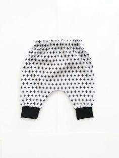 White Cross   Black Cuff Harem Shorts