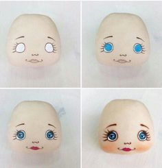 Doll eyes diy faces Ideas - Her Crochet Doll Face Paint, Doll Painting, Doll Crafts, Diy Doll, Fabric Toys, Fabric Crafts, Doll Clothes Patterns, Doll Patterns, Doll Making Tutorials