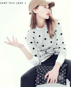 spot on / j.crew... A little preppy for me but I love the light makeup and that sweater!