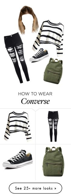 """Basic school outfit"" by char-pisces on Polyvore featuring Glamorous, Converse and Herschel Supply Co."