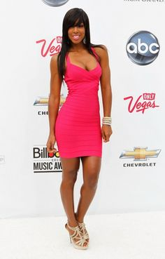 Got to love Kelly Rowland's pink dress style.