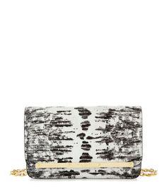 snakeskin wallet on a string clutch