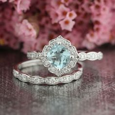 Mini Vintage Floral Aquamarine Engagement Ring and by LaMoreDesign