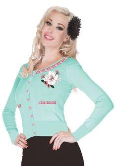 VOODOO VIXEN NWT Brown Faux Fur Collar 50/'s Cardigan Sweater Pin Up Girl M 8