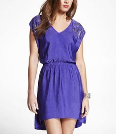 $41.93 // EMBELLISHED HI-LO HEM ELASTIC WAIST DRESS at Express