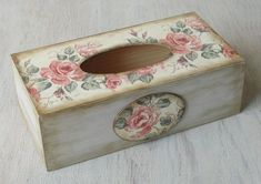 Hand painted wooden tissue box cover decorated with decoupage. This box is cm in) long, 13 cm in) wide, 8 cm in) tall, Decoupage Box, Decoupage Vintage, Tissue Box Covers, Tissue Boxes, Box Roses, Kleenex Box, Altered Boxes, Shabby Chic Style, Diy And Crafts
