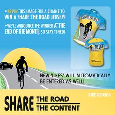 Share this pin for a chance to win a Share The Road jersey!