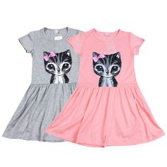 New Cute Toddler Baby Girl Kid Princess Casual Party Cat Print Summer Shirt Dress Clothes A1