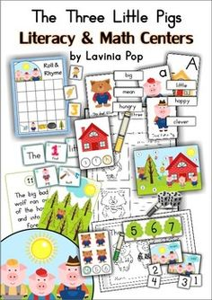 The Three Little Pigs Mega Fun This unit is jam-packed with Math and Literacy learning fun! It is best suited for students in Kindergarten and Fir. Preschool Literacy, Pre Kindergarten, Literacy Activities, Alphabet Activities, Fairy Tales Unit, Fairy Tale Theme, Traditional Tales, Three Little Pigs, Thematic Units