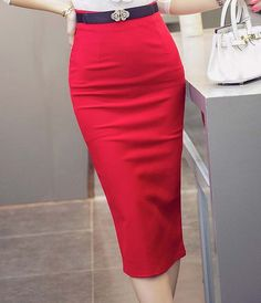 Hot Sale Ladies Skirt OL Women Slim Fitted Knee Length High Waist Straight Career Pencil Skirt