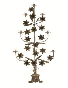 """Stunning tall 7 arm candelabras in the antique french church altar style.     With roses (18) and leaves - constructed in an """"antique"""" brass metal finish with patina - a reproduction of the old calandebras.    This huge candelabras is perfect placed on the floor    H: 104 cm  W: 56 cm    Standard taper candles are suitable for use with this elegant candelabra!     http://www.butikbutik.dk/products/candelabras-7-arm-candle-holder"""