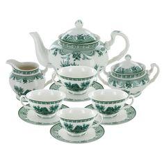 british Dinnerware sets   Home / Green Toile Porcelain Tea Set