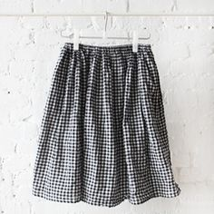Pip-Squeak Chapeau Gingham Gathered Skirt Black and White