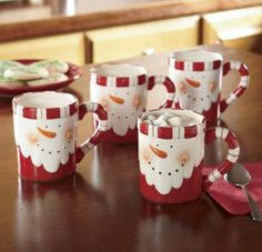 CUTE! Snowman mugs #Pottery #Painting #Art
