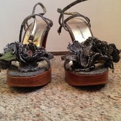 Dolce & Gabbana sandals Dolce & Gabbana sandals. w/ large black & white tweed flowers. Good used condition Dolce & Gabbana Shoes Sandals