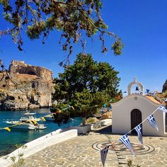"""St. Paul's Chapel, Lindos, Rhodes, Greece. ""Around 1920, an icon of St. Paul was unearthed here, and in 1951 the small church was built to commemorate his…"""