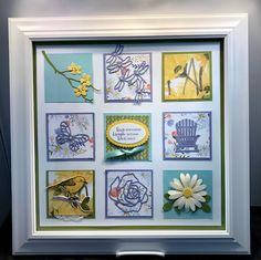 Spring Sampler Frame (Stamping With Tamie) Box Frame Art, Shadow Box Frames, Collage Frames, Collages, Valentines Frames, Paper Art, Paper Crafts, Homemade Greeting Cards, Window Cards