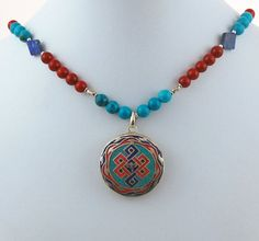 Tibetan Endless Knot Sterling Silver Pendant with Turquoise, Coral, Lapis Lazuli and Silver Necklace