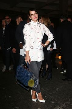 Shop for word-printed blouses with Lily Allen