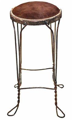 Vintage Iron & Hide Stool