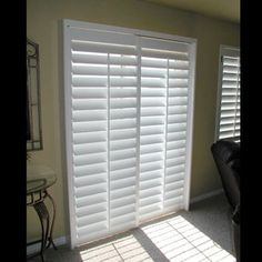 Plantation Shutter for Sliding Glass Door, Louvers - Yelp - Newton Woodsford Sliding Door Coverings, Glass Door Coverings, Patio Door Coverings, Sliding Door Window Treatments, Window Coverings, Sliding Glass Door Shutters, Sliding Patio Doors, Glass Doors, Service A Domicile