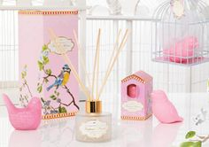 The Aromatherapy Company Madame Plume range; the bird cage gift set comes with a little bird soap and candle, in either blue, pink or grey.