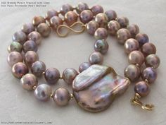 Bronzey Purple Tropical with Giant Coin Focal Freshwater Pearl Necklace