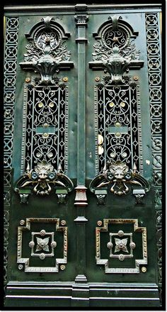 #Architecture #Doors of Buenos Aires, AR metal door with windows and studded details in green aqua colour. Argentina.