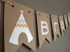 Tribal Teepee \'Be Brave\' Baby Shower Banner